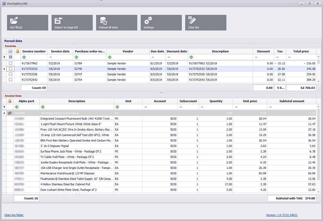 Invoice Integration for One Eighty Construction